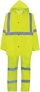 Global Glove GLO-8000 - FrogWear HV - 3-Piece High-Visibility Rain Suit - X-Large