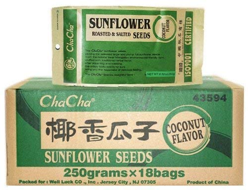Chacha Sunflower Roasted and Salted Seeds (Coconut Flavor) 250g X 18 Bags