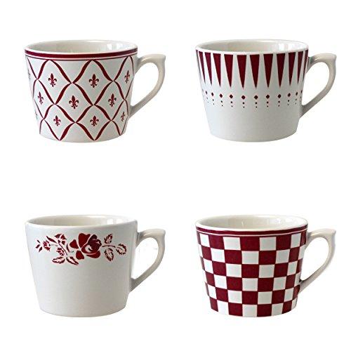 Depot d'argonne 4 Tasses à Cappuccino, Motif en céramique, Rouge, 11 x 9 x 7 cm
