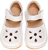 LilyPipSqueak Toddler Girl Squeaky Shoes Petal White Free Stoppers (6 Toddler)