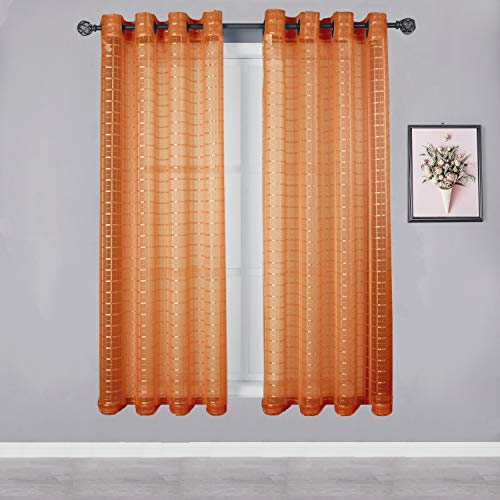 HEJEME Orange Sheer Curtain Window Curtains (54 x 63inch) with Grommets - Single Layer Semi Sheer Plaid Lines Panels for Bedroom, Living Room & Dining Room, Set of 2 Panels