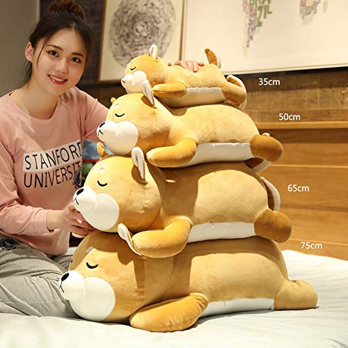 Shiba Inu Plush Pillow,Soft Corgi Stuffed Animals Toy Cute Sleeping Puppy Doll Gifts for Kids (Smiling Eyes, 29.5 inch)