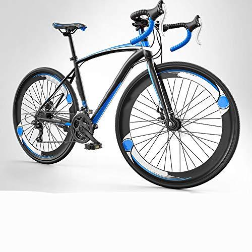 CuiCui Bicicleta De Carretera De Acero De Alto Carbono 700C Bicicleta De Carretera De 27 Velocidades Bicicleta De Carretera De Freno De Dos Discos Bicicleta Ultraligera,A2