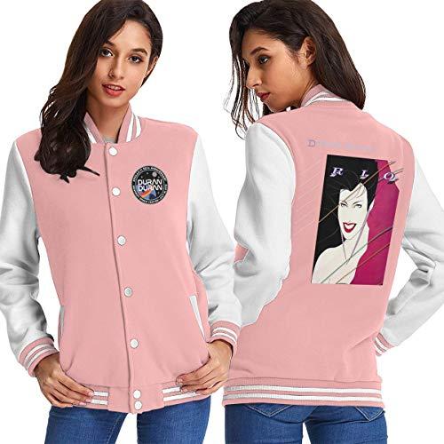 EmmanuelHarrod Duran Duran Women Baseball Jacket Outerwear Coats Long Sleeve Shirt S Pink