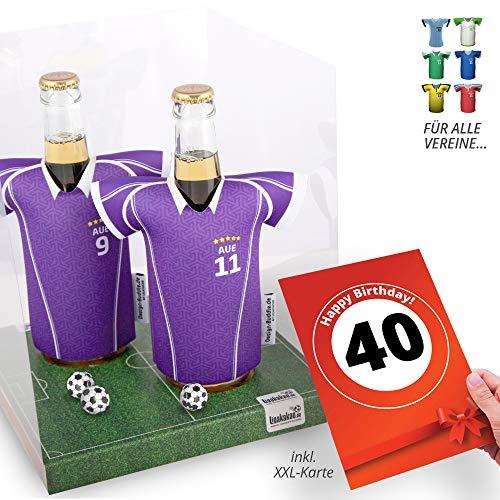 40. Geburtstag | Der Trikotkühler | Das Männergeschenk für AUE-Fans | Langlebige Geschenkidee Ehe-Mann Freund Vater Geburtstag | Bier-Flaschenkühler by Ligakakao
