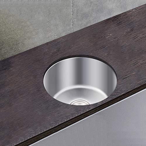 Kitchen Sink. 32x32 / 36x36 / 42x42 Cm Fregadero De Cocina De Un Solo Tazón De Acero Inoxidable 304, Lavabo Redondo Bajo Encimera - Montaje Doble - Acabado Cepillado