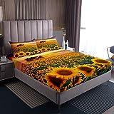 Juego de sábanas de girasol, flores florecientes azul, juego de sábanas para niños y niñas, juego de cama con 2 fundas de almohada, juego de cama doble