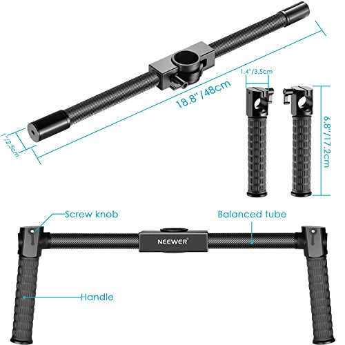 Neewer Carbon Fiber Dual Handheld Grip for Zhiyun Crane/Crane M/Crane V2 Neewer Crane/Crane M/Crane V2 3-Axis Handheld Stabilizer, 18.8 inches/48 centimeters Non-slip Light-weight Durable Camera Grip