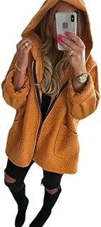 Macondoo Women's Casual Fuzzy Hoodie Full Zipper Coat Sherpa Jackets