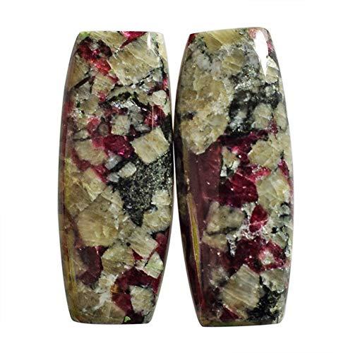Par de cabujón natural Eudialyte de la península de Kola, parte trasera plana, tamaño 27 x 11 x 4 mm, pendientes de piedra de par, piedras preciosas sueltas AG-13703