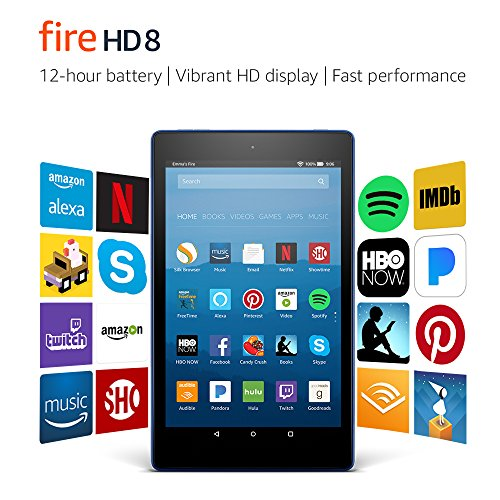 Fire HD 8 Tablet with Alexa, 8' HD Display, 16 GB, Marine Blue - with Special Offers (Previous Generation – 7th)