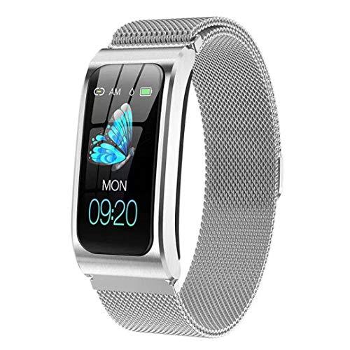 Fitness Armband Uhr mit Blutdruckmessung IP68 Wasserdicht Pulsuhr Sport Damen Herren IOS Android JHCT Schlaf Tracker (Silberner Stahlgürtel)