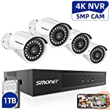 SMONET 5MP Security Camera Systems,8-Channel Home Video Surveillance System(1TB Hard Drive),4pcs 5MP(2560TVL) POE IP Cameras,Power Over Ethernet,24/7 Recording for NVR Kits,Indoor&Outdoor CCTV Camera