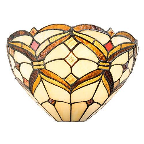 Lumilamp 5LL-5886 - Lampada da parete in stile Tiffany Art Deco Tiffany 30 x 15 x 17 cm, attacco E14, max. 40 Watt, in vetro colorato