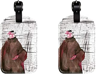 Man In GlassesLeather Luggage Tags Suitcase Labels Bag Travel ID Bag Tag, 1 Pcs