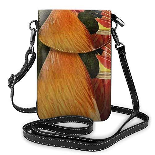 Crossbody Handy Geldbörse Hahn Hahn Trinken einen Krug Becher Ale Bier Frauen PU Leder mehrfarbige Handtasche mit verstellbarem Riemen