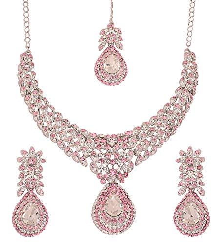 Touchstone White Tone Indian Hollywood White/Pink Rhinestones Stunning Bridal Jewelry Necklace for Women