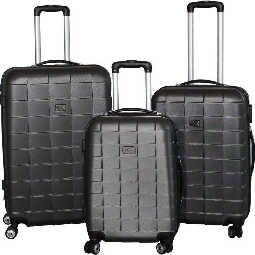 BERWIN Kofferset 3-teilig Reisekoffer Koffer Trolley Hartschalenkoffer ABS Teleskopgriff Modell Squares (Dunkelgrau)