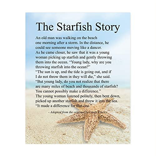 'The Starfish Story' Inspirational Beach Wall Art Sign -8 x 10' Nautical Poem Print w/Starfish By Sea Image-Ready to Frame. Home-Office-Beach House Decor. Perfect Ocean Themed Decoration! Great Gift!