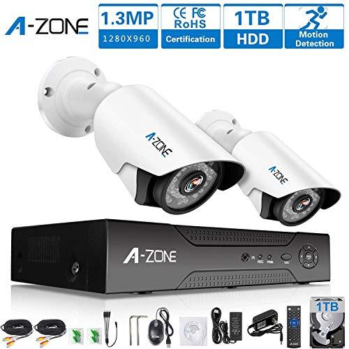 A-ZONE Kit Videosorveglianza Telecamera Esterna Registratore del Sistema 4 Canali DVR + 2 *1.3 Megapixel AHD Telecamere di Sicurezza per la Casa di Visione Notturna, con 1TB HDD