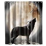 N\A Animal de la Fauna bajo la Luna Lobo Fresco Cortina de Ducha Tela Tela Niños Baño Decoración Set con Ganchos Impermeable Lavable