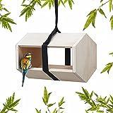 Natural Outdoor Bird Feeder Wooden Modern Bird Nest for Backyard Garden Minimalist Hexagonal Design - Royal Chirp Sky Loft Feeder