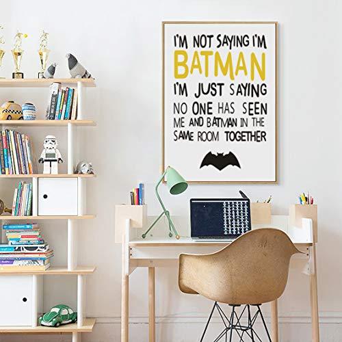 Danjiao Élégant Poésie Batman Dessin Animé Motif Enfant Chambre Décoration Toile Peinture Art Print Affiche Mur Photo Décoration De La Maison Chambre À Coucher 60x90cm