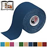 BB Sport 1 Rollo Cinta Kinesiología Tape 5 m x 5 cm Cinta Muscular E- Book Ejemplos Aplicación, Color:azul oscuro