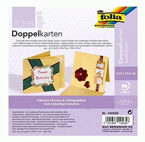 folia 140565 - Doppelkarten ca. 13,5 x 13,5 cm, je 5 Karten (220 g/qm), Kuverts und Einlagen, gold - ideal für Einladungen, Glückwunsch- oder Grußkarten