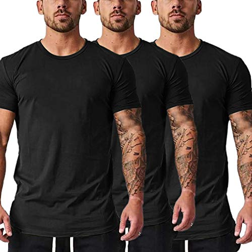 COOFANDY Men's 3 Pack Gym Workout T Shirt Short Sleeve Base Layer Muscle Bodybuilding Training Fitness Tee Tops (Large, Black&Black&Black22)