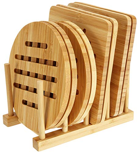 Lawei 8 Pack Bamboo Trivets with Dish Rack - Bamboo Trivet Mat Bamboo Hot Pads Trivet for Hot Dishes, Pot, Bowl, Teapot