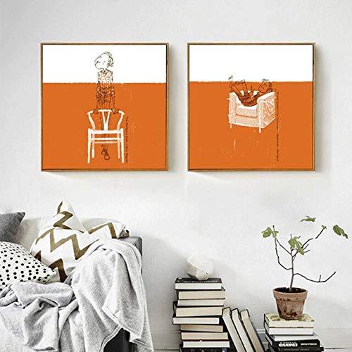 N / A Strichmännchen orange und weiß Nähte Denker Charakter Ölgemälde Leinwand Sofa Hintergrundbild Rahmenlos 30x30cm