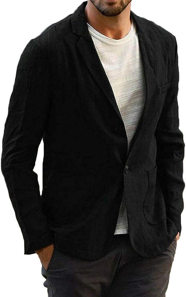 Men's Casual One Button Slim Fit Suits Tailored Blazer Cotton Linen Lightweight Sport Jacket Coat
