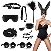 BDSM Bed Restraints Kits Sex Bondage Sets Sex Toys Play for Couples with Handcuffs Ankle Cuff Collar Leash Ball Gag Solid Leather Cross Strap Feather