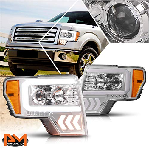 LED DRL+Arrow Turn Signal Projector Headlights Assembly Compatible with Ford F150 09-14 Chrome Housing Amber Corner