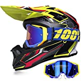 Yase Casco de moto de cross con gafas, casco de motocross, casco Enduro Downhill, gafas de moto offroad, unisex, casco completo para ciclomotores, ATV, bicicleta de montaña