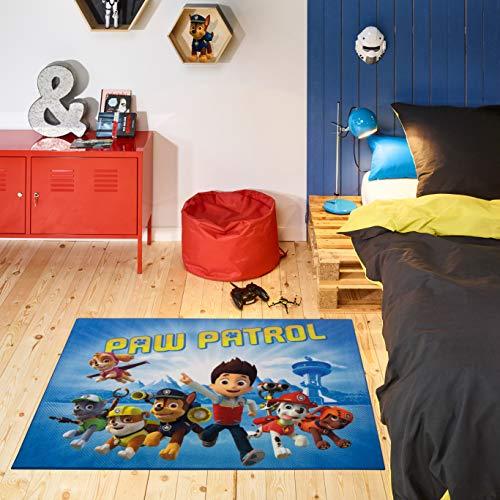 Carpet Studio PAW Patrol Kinderteppich 95x125cm, Spielteppich für Schlafzimmer, Kinderzimmer & Spielzimmer, Waschbar, Einfach zu Säubern, rutschfest - On a Roll