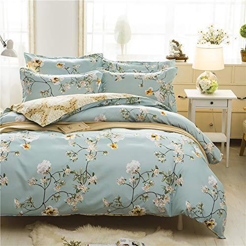 Boqingzhu Bettwäsche 135x200cm Blumen Blüten Grün Gold Bettbezug Set 2 Teilig Weiche Microfaser Wende Bettwäsche Bettdeckenbezug mit Reißverschluss und 80x80cm Kissenbezug