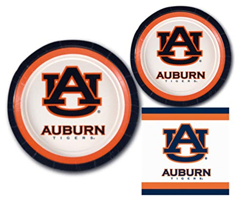 Auburn Tigers Party Supplies - Bundle Includes Paper Plates and Napkins for 10 People