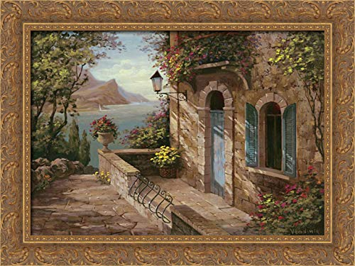 Vladimir 24x19 Gold Ornate Framed Canvas Art Print Titled: Amalfi Coast II