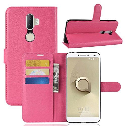 LMFULM® Hülle für Alcatel 3V 5099D (6 Zoll) PU Leder Magnet Brieftasche Lederhülle Litschi Muster Standfunktion Ledertasche Flip Cover für Alcatel 3V Rose Rot