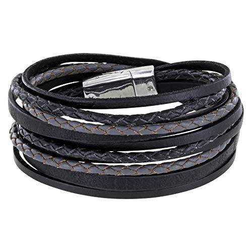 StarAppeal Armband Wickelarmband mit Flechtelement, Magnetverschluss Silber, Damen Armband (Schwarz)