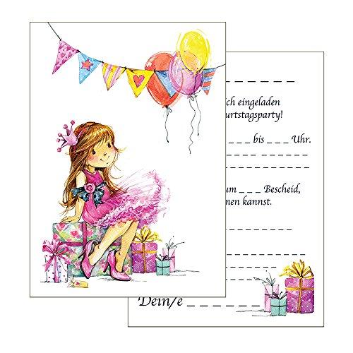 the lazy panda card company Set: 15 Einladungskarten Kindergeburtstag: Prinzessin Geburtstagseinladungen Einladungen Geburtstag Kinder Mädchen (15 Karten mit 15 passenden Umschlägen Briefumschlägen)