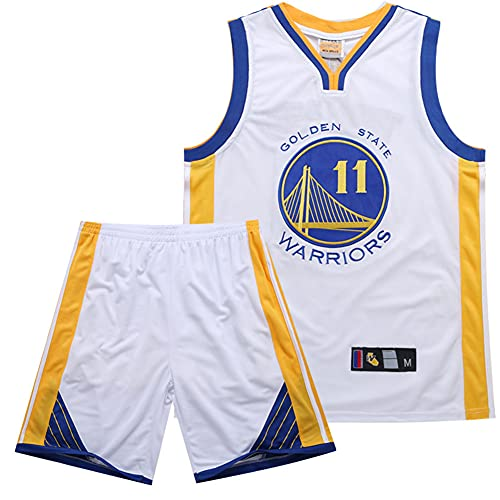 ZRHZB Maglia Thompson #11 Maglia NBA Golden State Warriors Maglia da Basket Unisex T-Shirt E Pantaloncini Casual Traspiranti Set da 2 Pezzi,2XL
