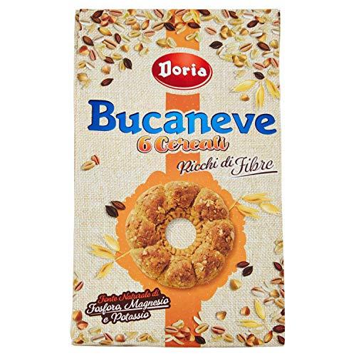 Doria - Bucaneve 6 Cereali, Biscotti Ricchi di Fibre - Ideali per la tua Colazione o Spuntino - Confezione da 300 gr
