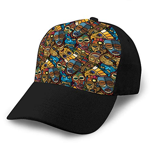 hyg03j4 Gorras de béisbol, Sombreros Militares, Sombreros de papá para el día del Padre, Regalo de acción de Gracias máscara Artesanal Africana vudú Tribal y Sombreros de Camionero Inca Sur