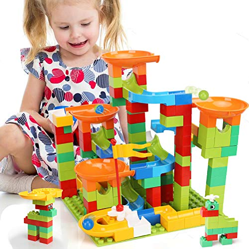 TOY Life 152 PCS Marble Run Set Building Blocks-Marble Race Tracks for Kids Includes Classic Big Blocks, Marble and Many Accessories-Perfect STEM Toy Marble Run for Toddlers, Kids Age 3,4,5,6,7,8+
