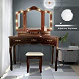 ENSTVER Vanity Set with 10 Hollywood LED Light Bulbs,Makeup Table with Stool and Mirror,6 Organization 7 Drawers,Dressing Table for Bedroom,Espresso