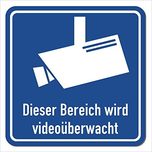 Magnetschild Bereich Wird videoüberwacht | Schild magnetisch mit Piktogramm nach DIN 33450 | Wetterfest - Geeignet für Innen/Außen (15 x 15 cm)
