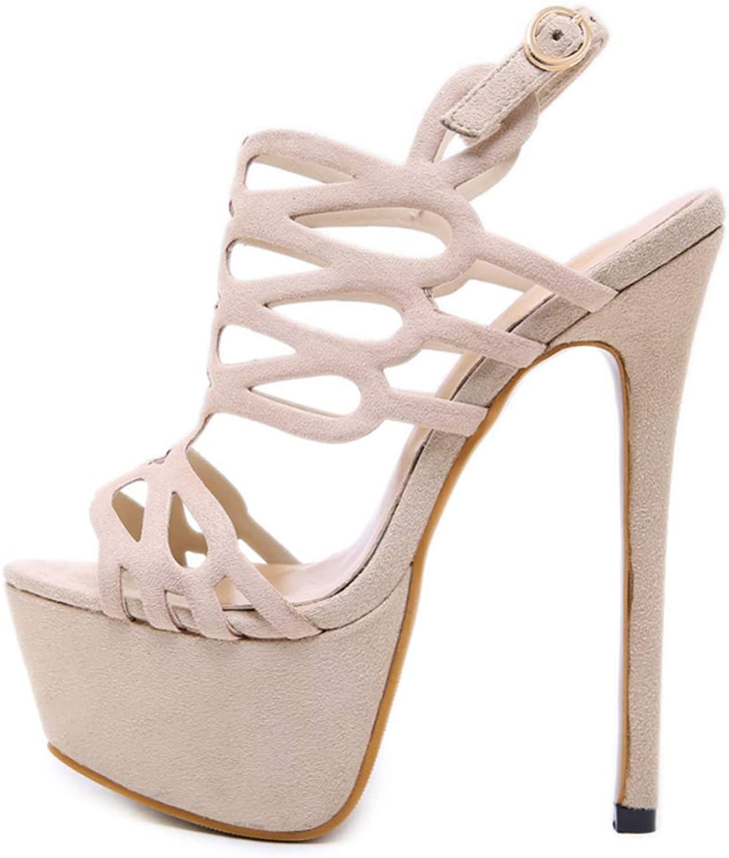 Shiney Women's Spring High Heel Waterproof Platform 16cm Stiletto Heels Sandals Female